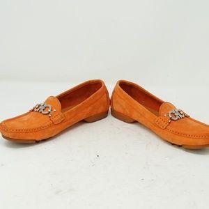 Salvatore Ferragamo Orange Driver Loafers